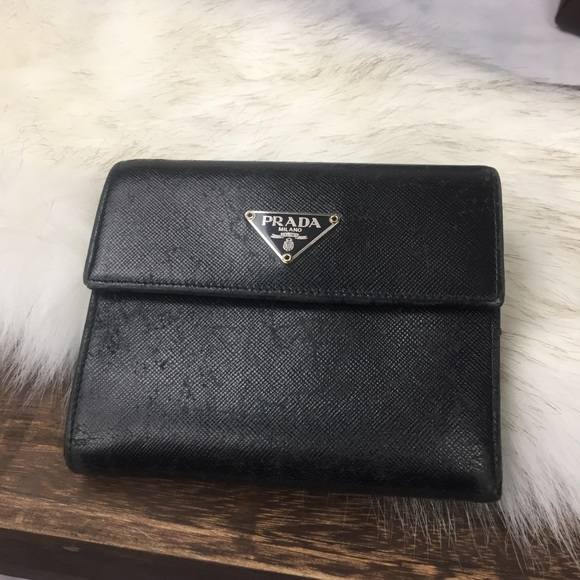 Prada Handbags - Prada saffiano black leather wallet